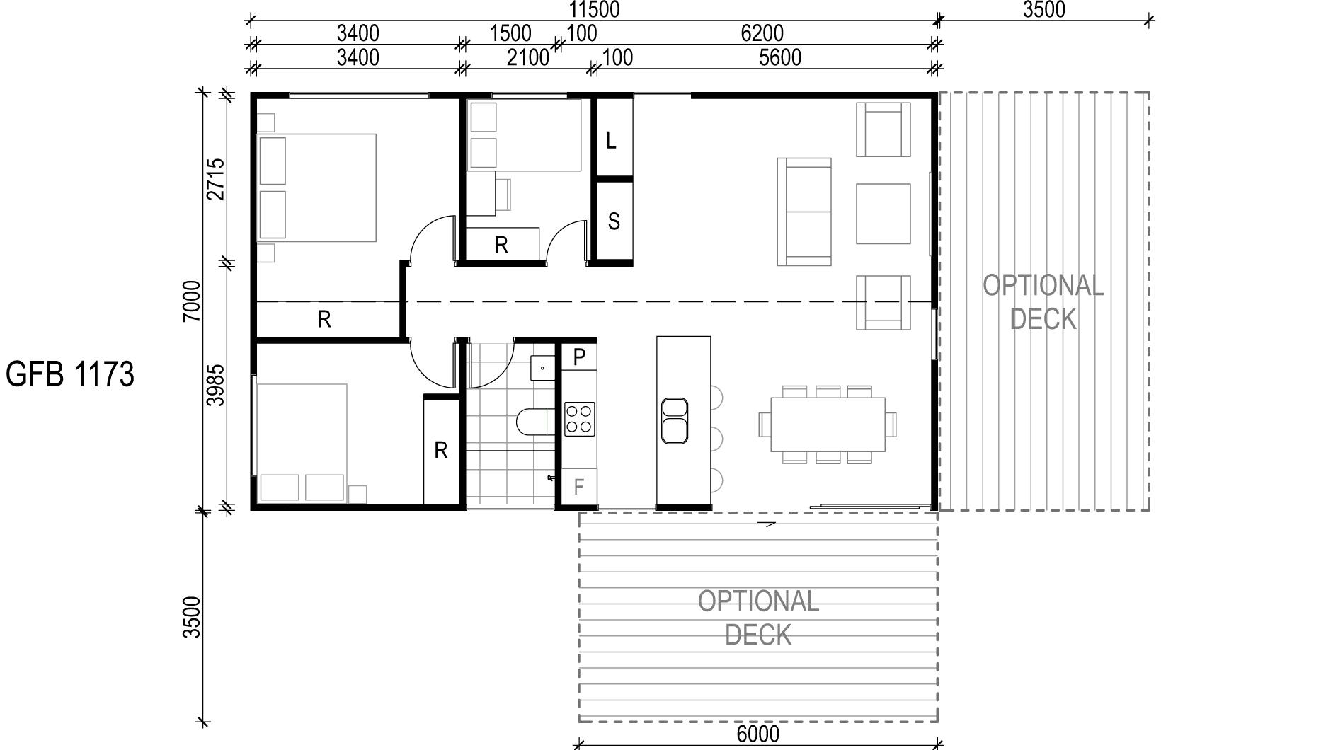 <span>GFB1173</span> <br />Module Price: $126,520<br /> Installation Cost: $19,710<br />Modules: 2<br />Size:77m²