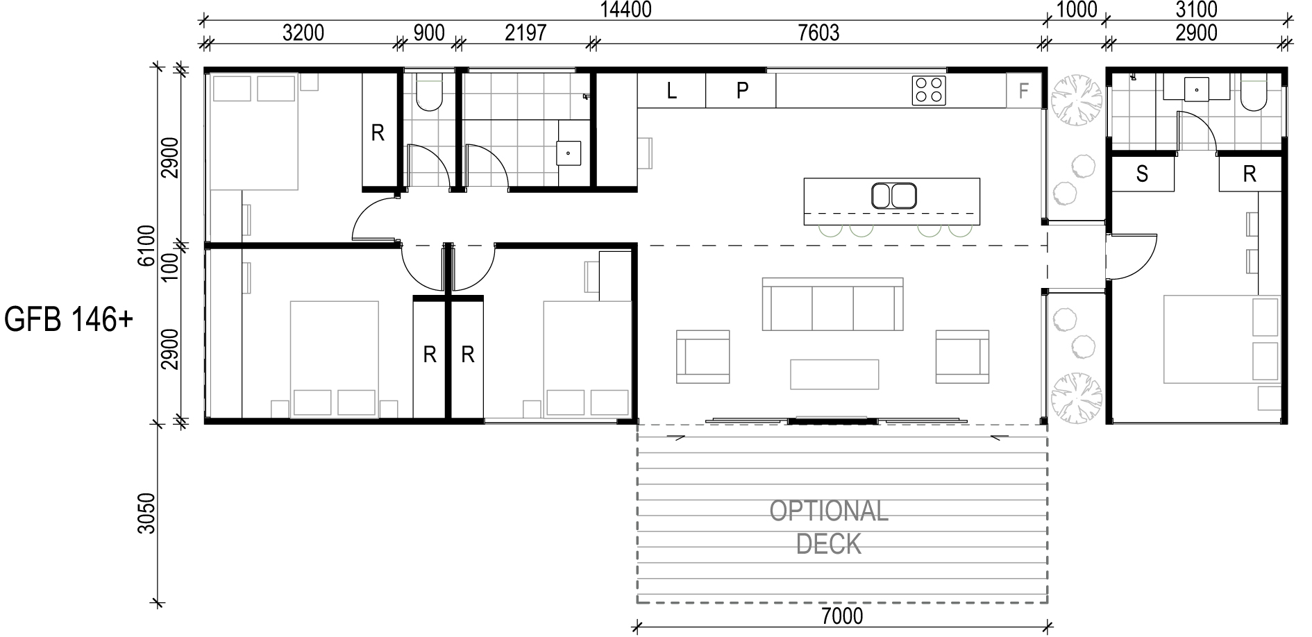 <span>GFB1463+</span> <br />Module Price: $190,260<br /> Installation Cost: $29,080<br />Modules: 3<br />Size:84m²